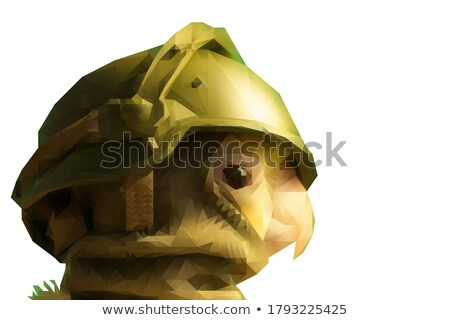 Retrato jovem soldado metralhadora Foto stock © acidgrey