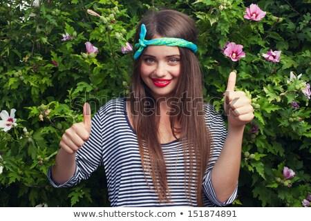 portret · wesoły · młoda · kobieta · podwoić - zdjęcia stock © stockyimages