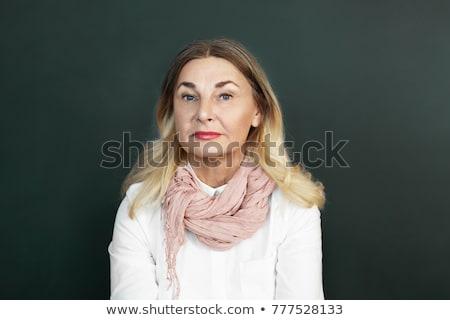 Mooie blond mosterd kleur blouse blonde vrouw Stockfoto © Pilgrimego