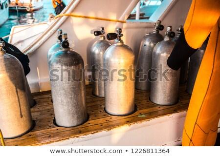 Dalış skuba oksijen hazır dişli güvenlik Stok fotoğraf © Forgiss