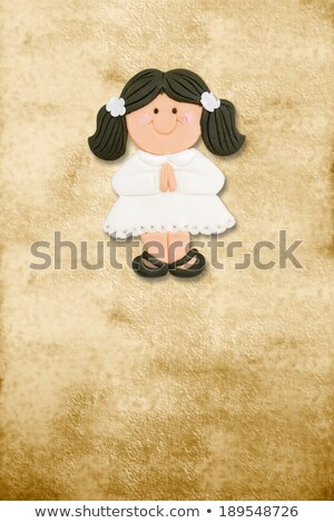 brunette girl first holy communion, invitation card vertically Stock photo © marimorena