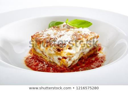 ingredienti · lasagna · tavolo · in · legno · estate · formaggio · pasta - foto d'archivio © mtkang
