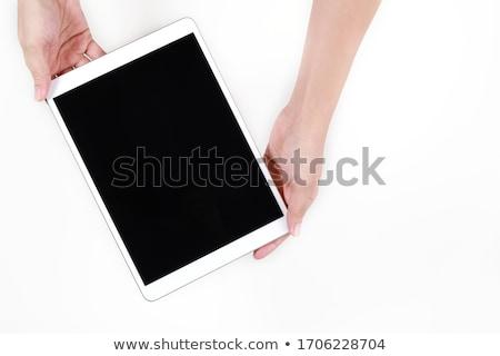mulher · comprimido · branco · terno · leitura - foto stock © wavebreak_media