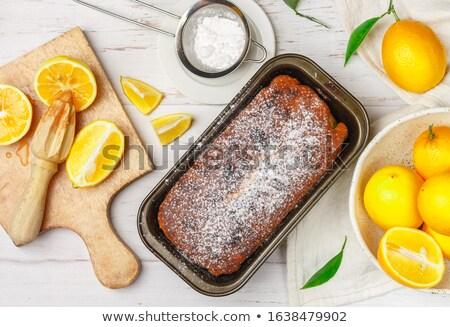 Stock fotó: Friss · citrom · font · torta · zöld · tea · asztal