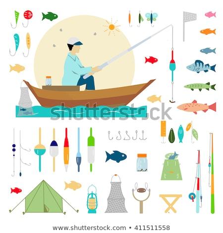 Autre pêche équipement mer lac silhouette Photo stock © Slobelix