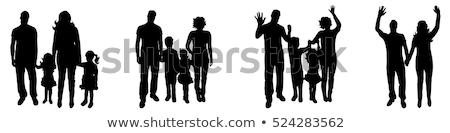 Stock fotó: Család · sziluettek · különböző · szülők · gyerekek · fut