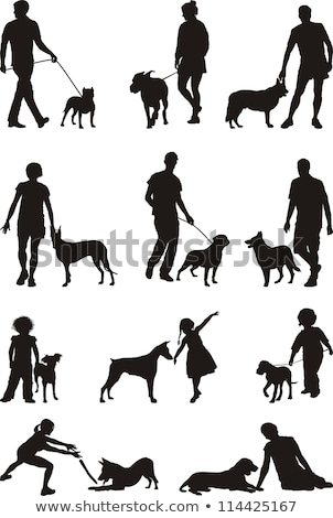 Homme chien silhouettes jouer vecteur blanc noir Photo stock © Slobelix