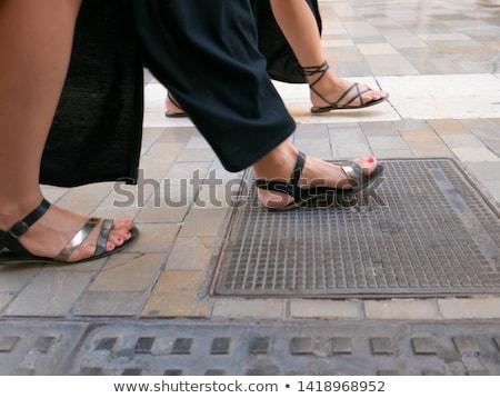 Abrir dedo do pé sapato imagem feminino azul Foto stock © cteconsulting