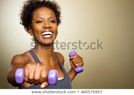 Portré nő testmozgás súlyzó fehér boldog Stock fotó © wavebreak_media