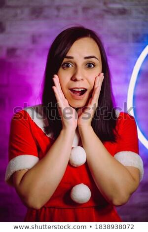 portré · csinos · fiatal · nő · kezek · kinyitott · ünnepel - stock fotó © HASLOO