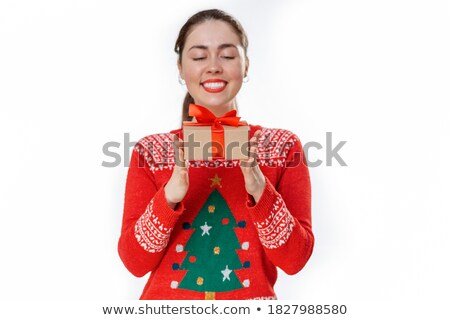 Portrait of young business woman holding discount symbol in her  Stock photo © HASLOO