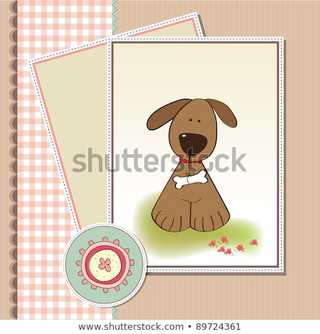 romantic baby shower card with dog stock photo © balasoiu