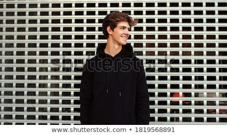 Foto stock: Retrato · guapo · jóvenes · tipo · inteligentes · joven