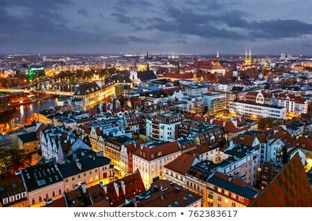 Eski evler gece şehir Polonya Stok fotoğraf © wZrokowiec