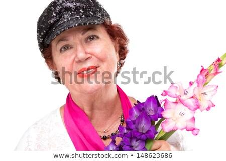 старший Lady черный Hat цветы улыбаясь Сток-фото © ozgur
