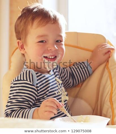 Kétéves fiú reggel portré baba szék Stock fotó © d13