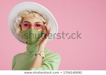 оптимистичный · женщину · Солнцезащитные · очки · изолированный · белый - Сток-фото © kurhan