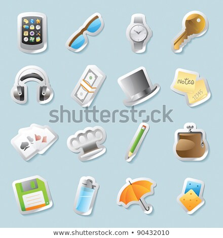 Sticker icons for personal belongings Stock photo © ildogesto