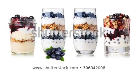 Joghurt müzli bogyók szett reggeli kanál Stock fotó © pxhidalgo