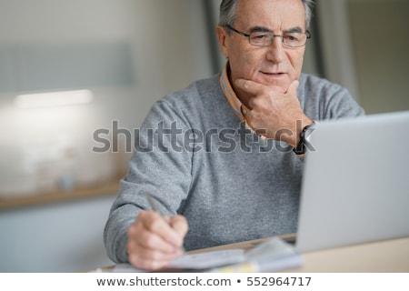 Foto stock: Velho · laptop · velho · feliz · homem · moderno