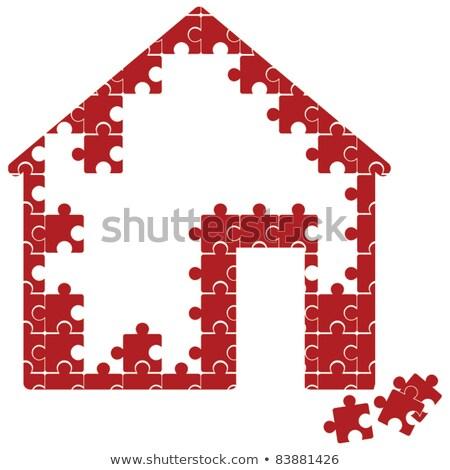 保険 ホーム アイコン 赤 パズル 住宅保険 ストックフォト © tashatuvango