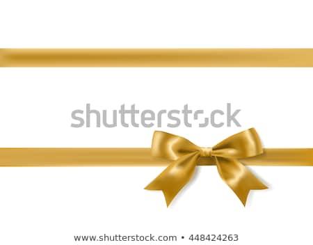 Stock fotó: Ajándékkártya · fényes · arany · íj · fényes · fémes