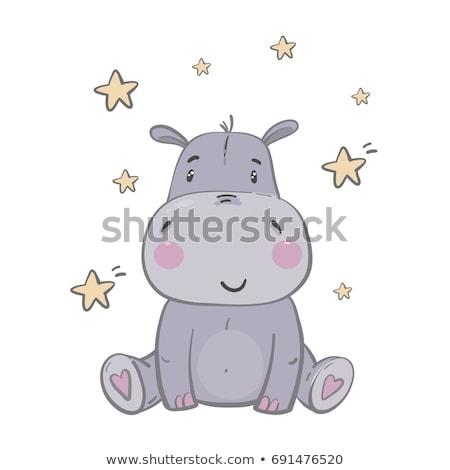 赤ちゃん · カバ · 漫画 · かわいい · 食品 · 笑顔 - ストックフォト © aminmario11