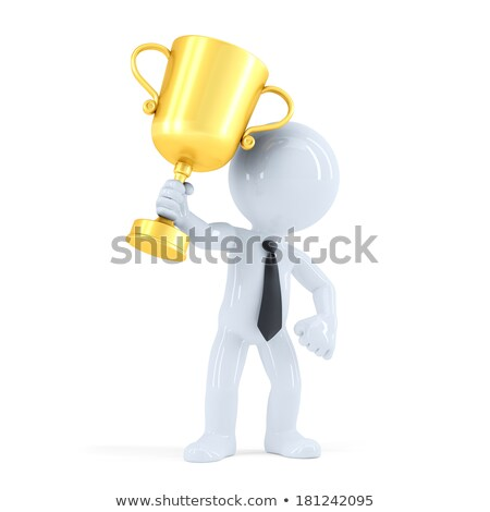 Business man raising his trophy. Business concept. Isolated. Contains clipping path Stock photo © Kirill_M