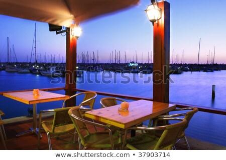 Szabadtér étterem marina Izrael fehér promenád Stock fotó © rglinsky77