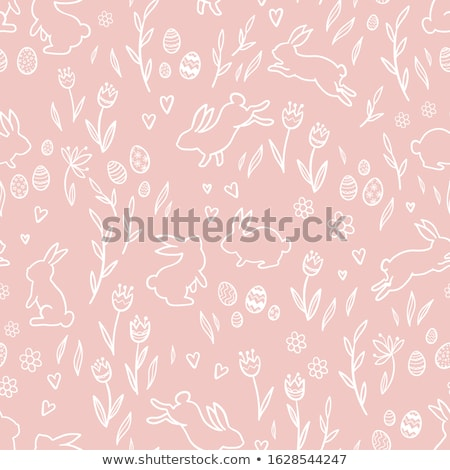 bunny with patterned easter egg stock photo © heliburcka