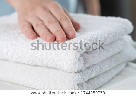 タオル 片付ける ワードローブ 手 女性 白 ストックフォト © barabasa