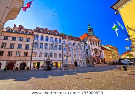 Város előcsarnok Szlovénia Európa folyó híd Stock fotó © kasto