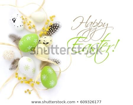 Tojások toll izolált fehér húsvét dekoráció Stock fotó © natika