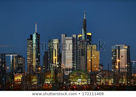 Frankfurt sziluett épület város nap fény Stock fotó © meinzahn