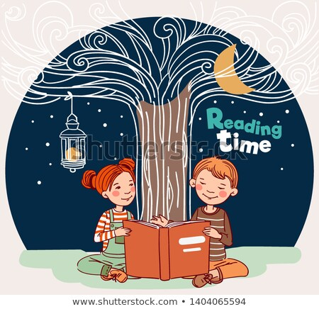 Back to School . Little school girl and boy with old book, vector illustration Stock photo © carodi