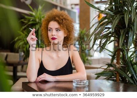 очаровательный · Lady · курение · сигарету · белый · девушки - Сток-фото © pugovica88