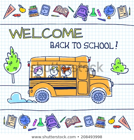 sketch school bus book and notebook stock photo © kali