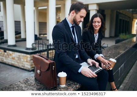 man looking to his side near girlfriend Stock photo © feedough