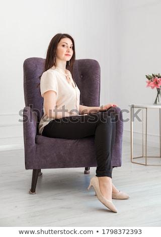 Atrakcyjny business woman bluzka spodnie studio portret Zdjęcia stock © zastavkin