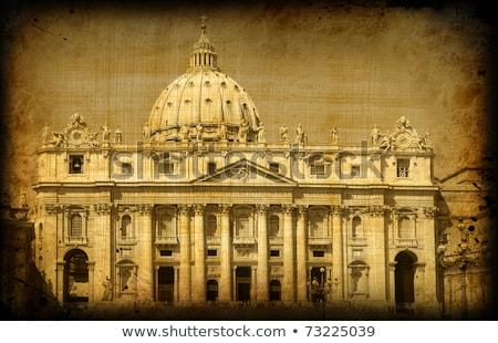 Kupola Szent Péter Bazilika Vatikán retro illusztráció templom Stock fotó © patrimonio