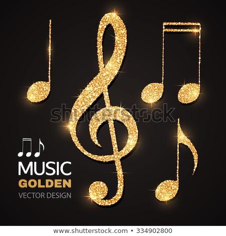 Music Notes Gold Vector Icon Button Stock photo © rizwanali3d