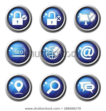 Protected Circular Blue Vector Web Button Icon Stock photo © rizwanali3d