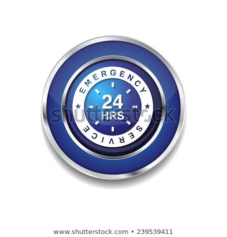 Stockfoto: 24 · nood · dienst · Blauw · vector · icon