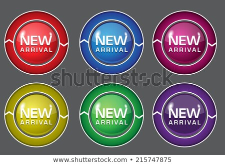 новых прибытие Purple вектора кнопки Сток-фото © rizwanali3d