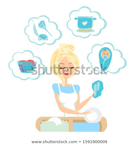 cartoon pretty maid woman with thought bubble Stock photo © lineartestpilot