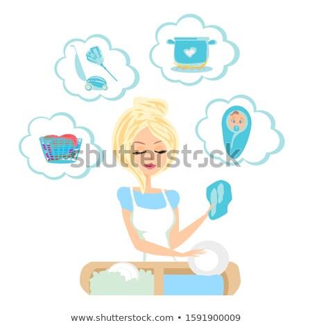 漫画 かなり メイド 女性 思考バブル 手 ストックフォト © lineartestpilot