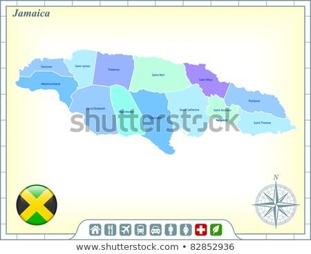 Botón símbolo mapa Jamaica bandera blanco Foto stock © mayboro1964