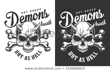 skull with horns and crossed bones stock photo © loopall