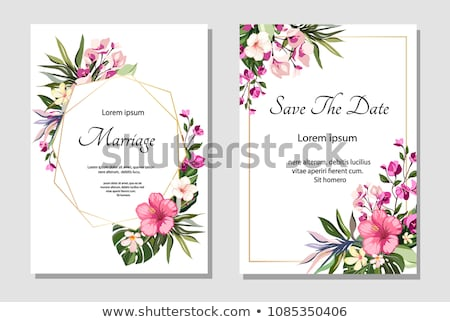 Esküvő buli meghívó hibiszkusz kép illusztráció borostyán Stock fotó © Irisangel