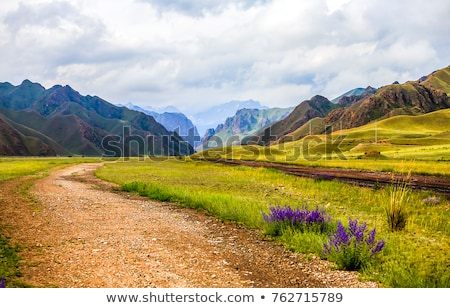Foto stock: Green Landscape With Road And Mountains